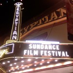 The marquee lights at the Egyptian Theater in Park City are lit up for the Sundance Film Festival.